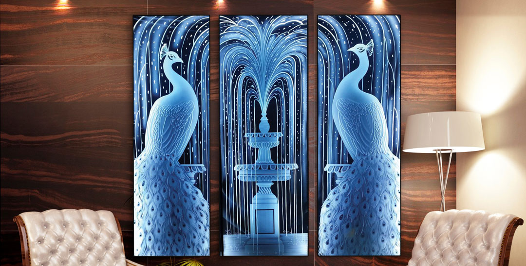Stunning New Etched Glass Peacocks Displayed