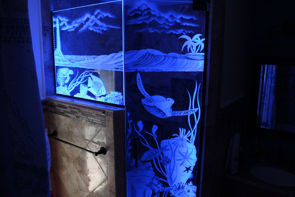 Etched-Shower-Doors-Marine & Etched Shower Doors Illuminated With LED Lights