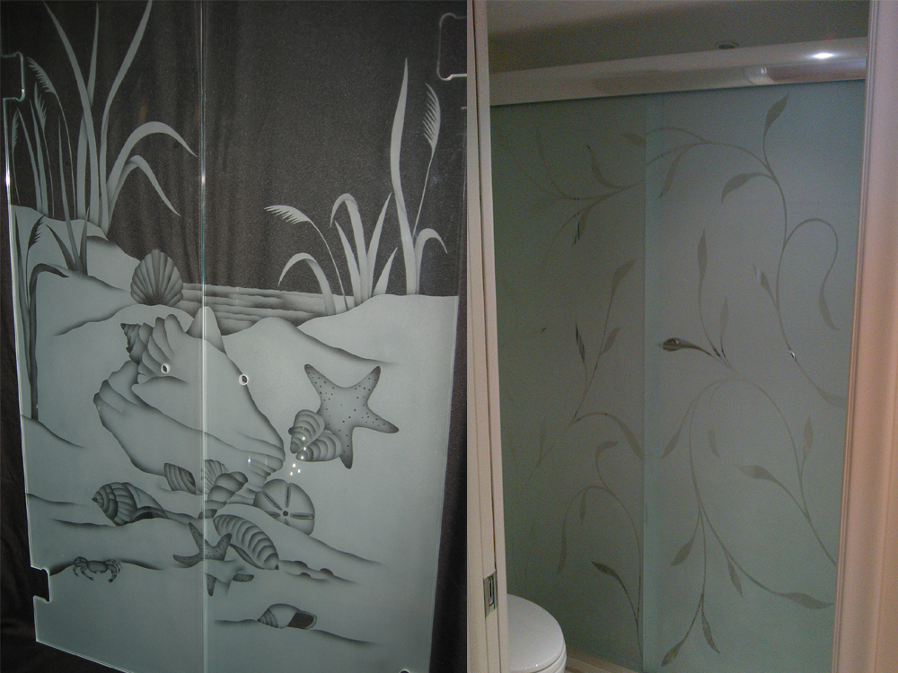 Etched glass shower doors for Frosted glass window bathroom