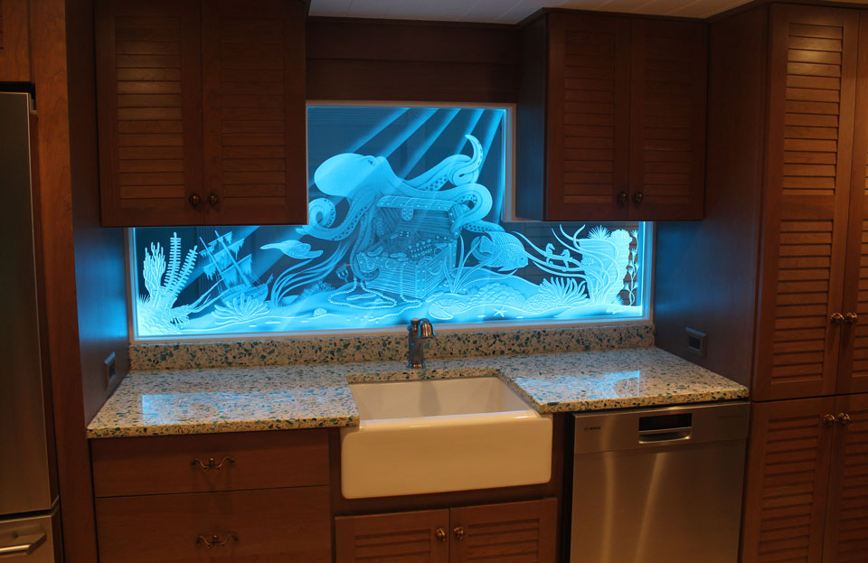Illuminated Glass Art With Superior Etched Amp Carved Glass